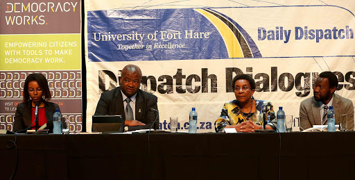 STIRRING TIMES: Columnist Nompumelelo Runji, UDM leader Bantu Holomisa, IEC chairwoman Brigalia Bam and Democracy Works chairman William Gumede at the Dispatch Dialogues on Tuesday Picture: STEPHANIE LLOYD.