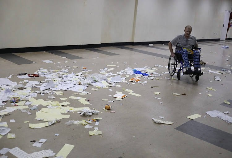 A patient navigates his way through the hallways of the protest-hit Charlotte Maxeke Academic hospital in Johannesburg on May 31 2018.