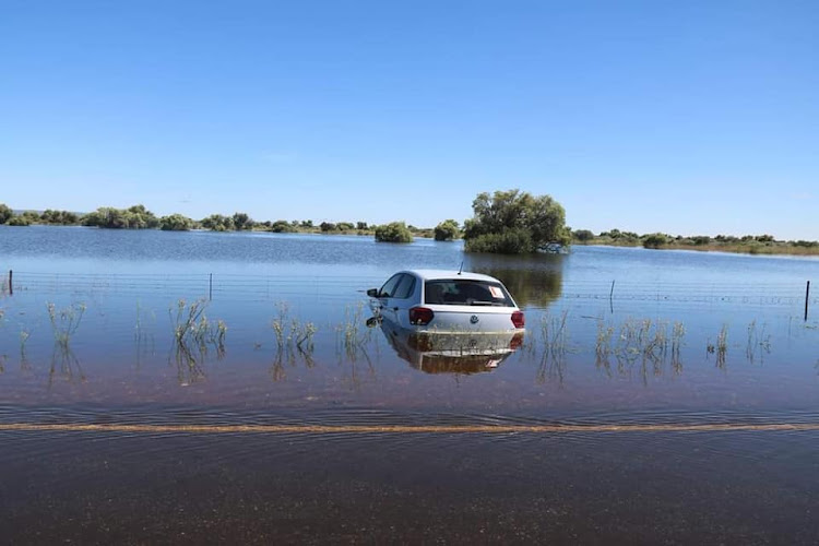 A car stuck in flood waters in the wake of tropical storm Eloise. File image