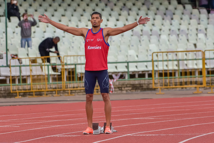 Wayde van Niekerk during the 2020 Free State Track and Field Championships.