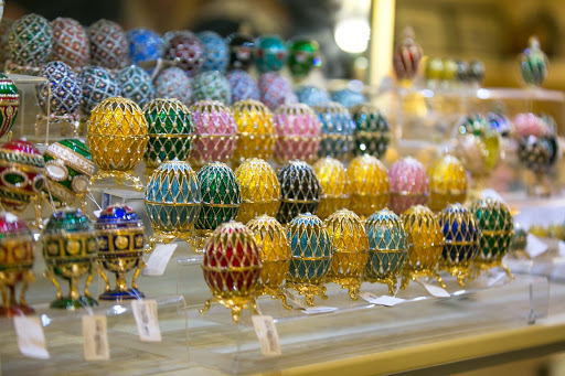 Peterhof-Palace-gift-shop-collectibles.jpg - Faberge egg replicas in the gift shop at Peterhof.