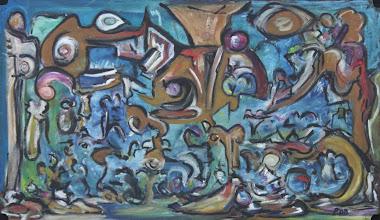 """Photo: """"Bamileke"""". Peinture à l'huile sur médium, 49x85cm, format horizontal."""