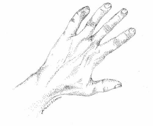 pointilism of a young man's hand