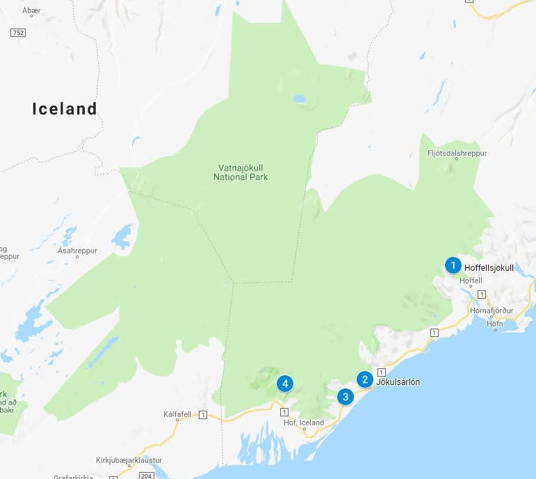 Iceland Glacier Map