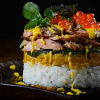 Keta Salmon Sushi Stacks.