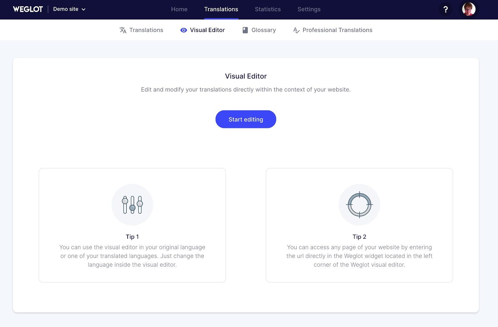 visual editor homepage