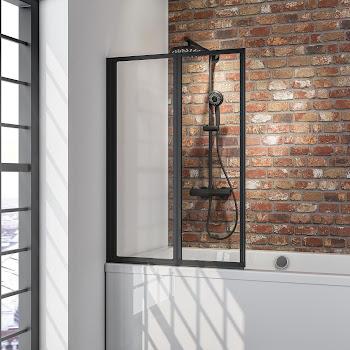 Pare-baignoire 120 cm à coller, 2 volets, style industriel, profilé noir