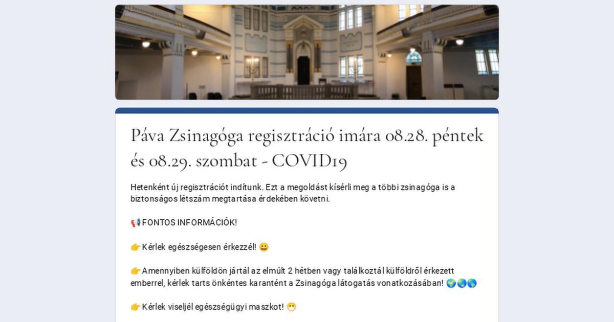 Páva Zsinagóga regisztráció imára 08.28. péntek és 08.29. szombat – COVID19