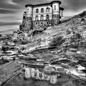 BW OF CASTEL BOCCALE (LIVORNO, ITALY) by Gianluca Presto - Black & White Buildings & Architecture ( water, 686, reflection, tuscany, toscana, castel boccale, sea, castello, travel, architecture, beach, romito, reflecting, italia, sunset, dark, cloudy, castle, livorno, rocks, italy, boccale,  )