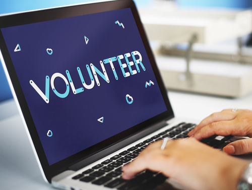 a shot of a computer screen with the word volunteer on it