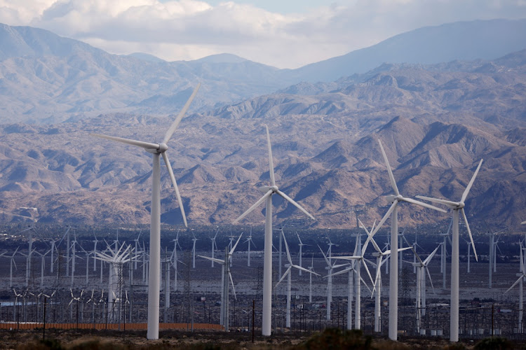 Wind turbines near Palm Springs, California, the US, March 10 2021. Picture: REUTERS/MIKE BLAKE