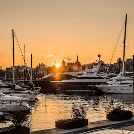 Barcelona Docks at Sunset by Jamie Ledwith - Uncategorized All Uncategorized ( water, sunset, boat, docks, barcelona )