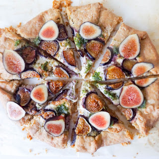 Fig & Burrata Galette with Kale Walnut Pesto.
