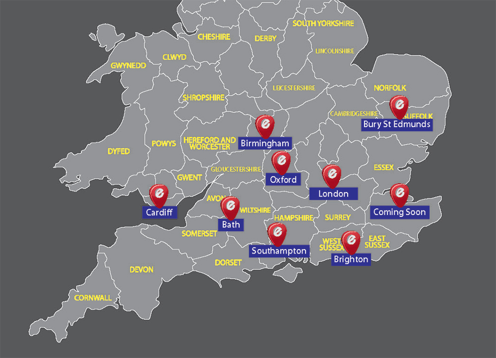 Map of delivery locations for Elite Fine Foods