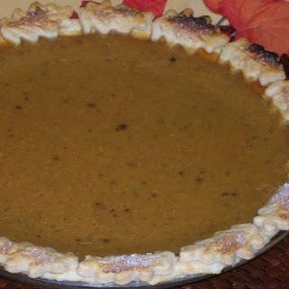 Pumpkin Pie with Autumn Leaf Border