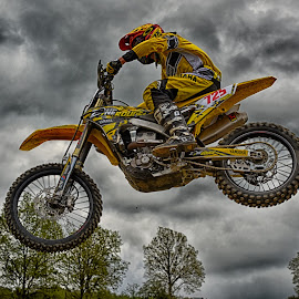 Excellent View ! by Marco Bertamé - Sports & Fitness Motorsports ( 125, clouds, speed, number, yellow, race, noise, jump, flying, motocross, grey, air, high )