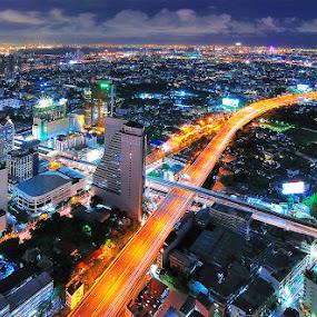 Night in Bangkok by Chatchai Lakamankong - City,  Street & Park  Vistas