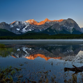 Mt Foch by Peter Luxem - Landscapes Mountains & Hills ( reflection, alpenglow, sunrise, foreground, mt foch )