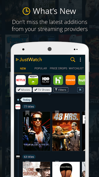 JustWatch - The Streaming Guide for Movies & Shows Android App Screenshot