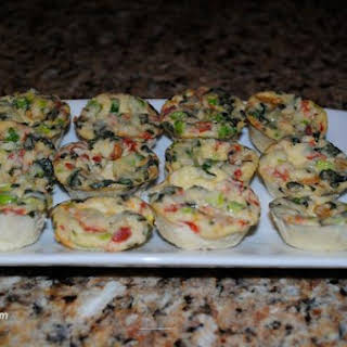 Savory Roasted Pepper and Basil Quiche Bites Appetizer.