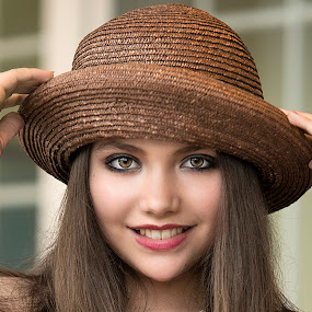 The Brown Hat by Sylvester Fourroux - People Portraits of Women
