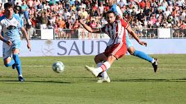 Juan Muñoz en el último partido contra el Lugo.