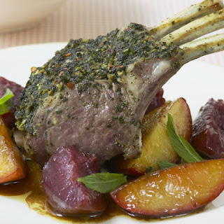Minted Rack of Lamb with Balsamic Stone Fruit.