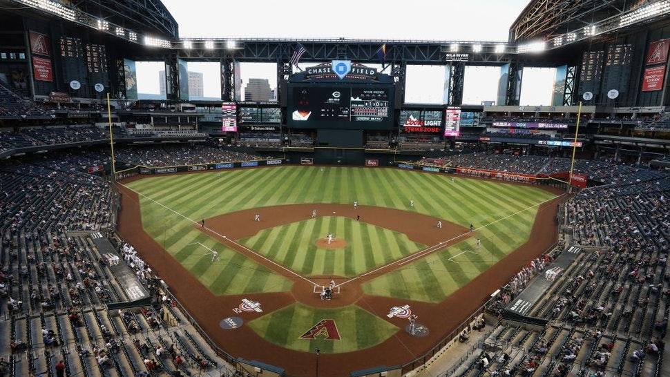 General view of action between the Arizona Diamondbacks and the Cincinnati Reds during the first inning of the MLB game at Chase Field on April 09, 2021 in Phoenix, Arizona.