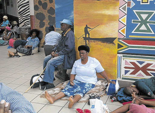 STRANDED: Patients wait for help outside the Steve Biko Academic Hospital in Pretoria