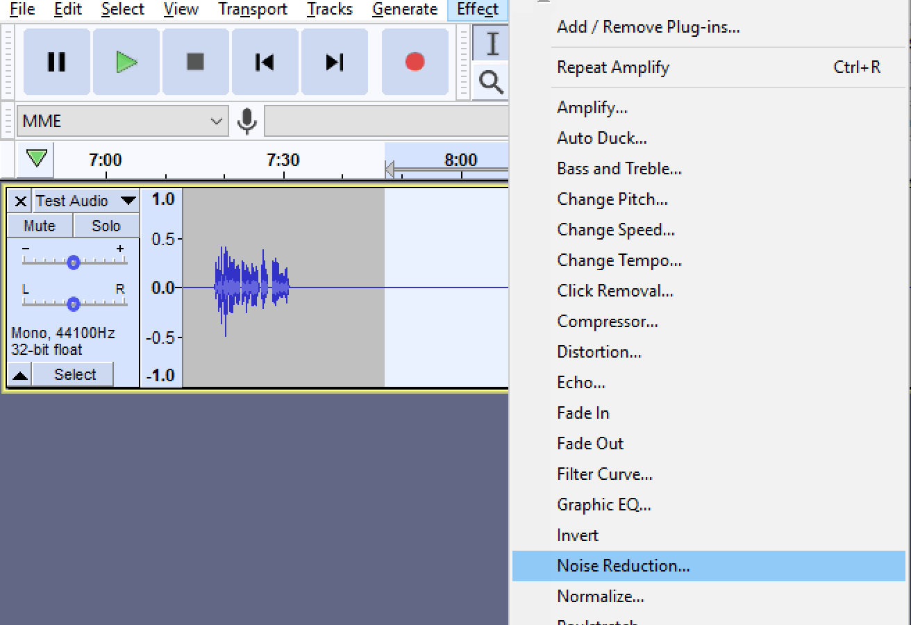 Effects menu in Audacity