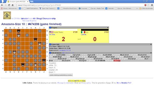Game of Amazons (littlegolem.net)