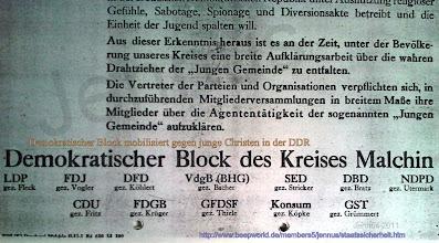 """Photo: Plakat: Demokratischer Block mobilisiert gegen junge Christen in der DDR.   In der DDR führte besonders in den Anfangsjahren massiver politischer Druck zu Kirchenaustritten, die danach durch Taufunterlassungen eine weitere Abnahme der Kirchenmitgliedschaft zur Folge hatten. Die Karrierechancen des Einzelnen wurden in der DDR nahezu ausschließlich über die Nähe bzw. Ferne zur antireligiösen Parteidiktatur der SED bestimmt. Die hohe Anerkennung, die die christlichen Kirchen im Zusammenhang mit der """"Friedlichen Revolution"""" des Jahres 1989 in der DDR errungen hatte, hat sich offenbar kaum in der Mitgliedschaft der Kirche ausgewirkt. Hinzukommen die Abwanderungen junger, gut ausgebildeter Menschen von Ost- nach Westdeutschland, die in der Zeit von 1990 bis 2006 immerhin 1,5 Millionen Menschen betrug. Heute sind in Westdeutschland 74 Prozent der Wohnbevölkerung Mitglied einer christlichen Kirche. In Ostdeutschland sind es nur noch 27 Prozent."""
