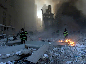 Photo: Rescue personnel take a stock of the ground situation after the 9/11 attacks.