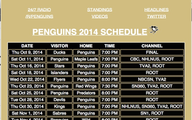 PENGUINS SCHEDULE