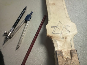 Photo: Used a compass and precision tools to measure out and draw the logo to carve.