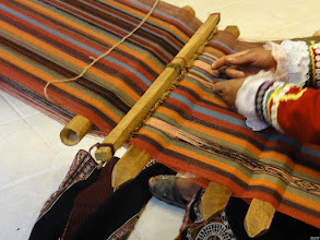 Photo: Traditional cotton weaving. Note the detailed pattern on the lower right.
