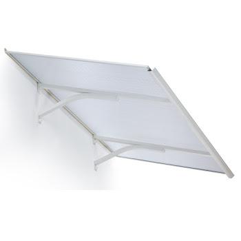 Auvent marquise de porte Basic Plus, 160 x 83 cm, plongeant, verre transparent,  polycarbonate, fixation aluminium blanc