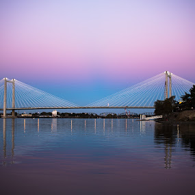 Cable Bridge at Twilight by Earl Heister - Buildings & Architecture Bridges & Suspended Structures ( twilight, lit up bridges, bridge, bridges, cable bridge,  )