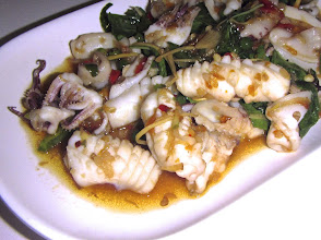 "Photo: spicy stir-fried squid with chillies and aromatic herbs (""pad chah pla meuk""), My Choice"