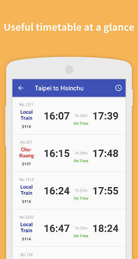 Taiwan Railway - adless train schedules ss2