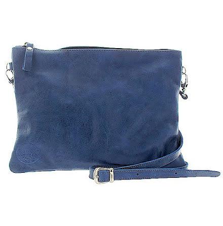 Axelremsväska blå i skinn med foder och ficka