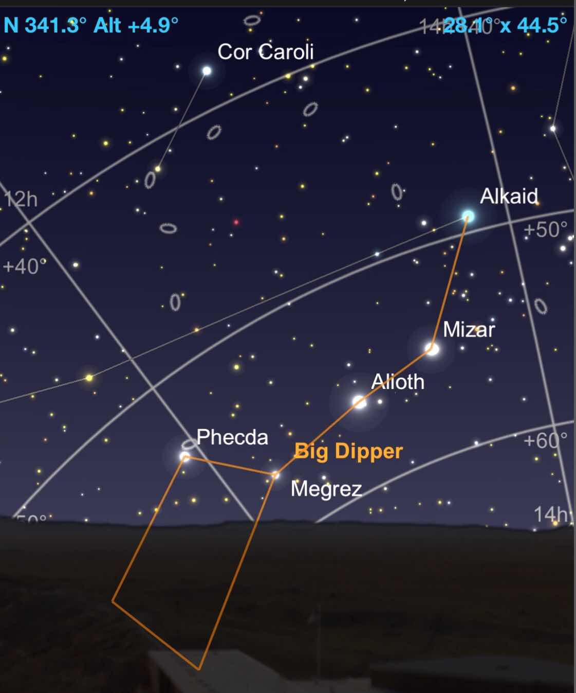 GoSkyWatch prediction for observing the Big Dipper now in San Pedro de Atacama, Chile (Source: Palmia Observatory)