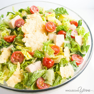 Chicken Caesar Salad with Parmesan Crisps (Low Carb, Gluten-free).