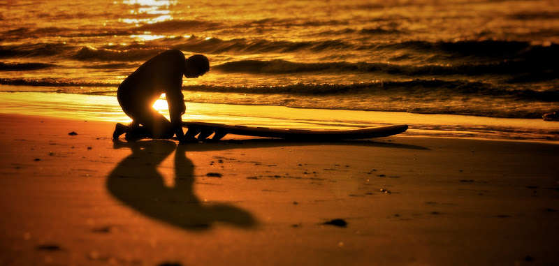 Photo: Golden Surfer dude praying for the perfect wave (taken just after the walk finished)