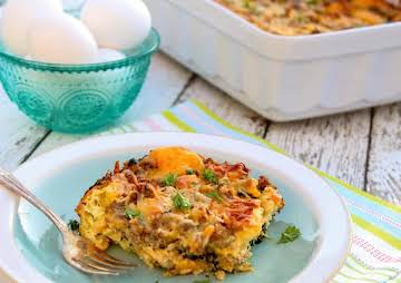 Cheesy Sausage and Spinach Breakfast Strata