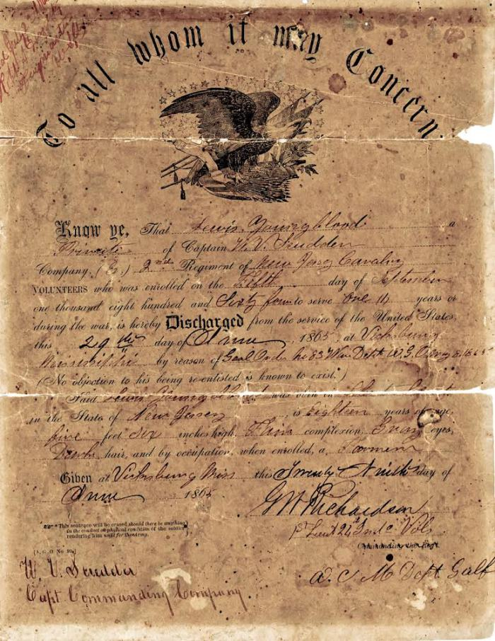 Youngblood, Lewis Jacob, discharge papers from Civil War.jpg