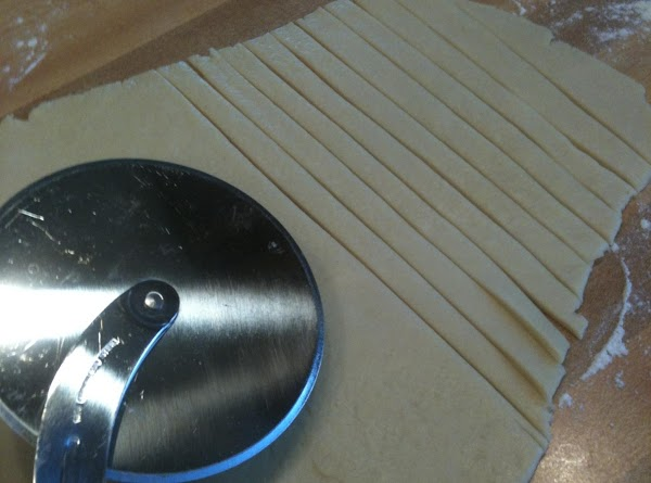 """Roll out your pie crust and cut into strips, anout 1/4"""" wide.  I..."""