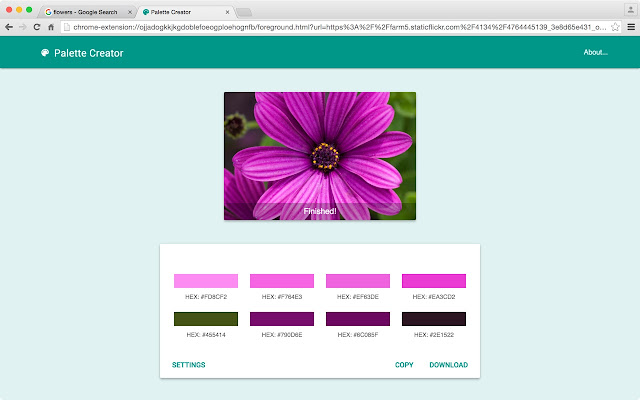 "Creates a color palette from any image. Just right-click on the image and select the ""Palette Creator"" option."