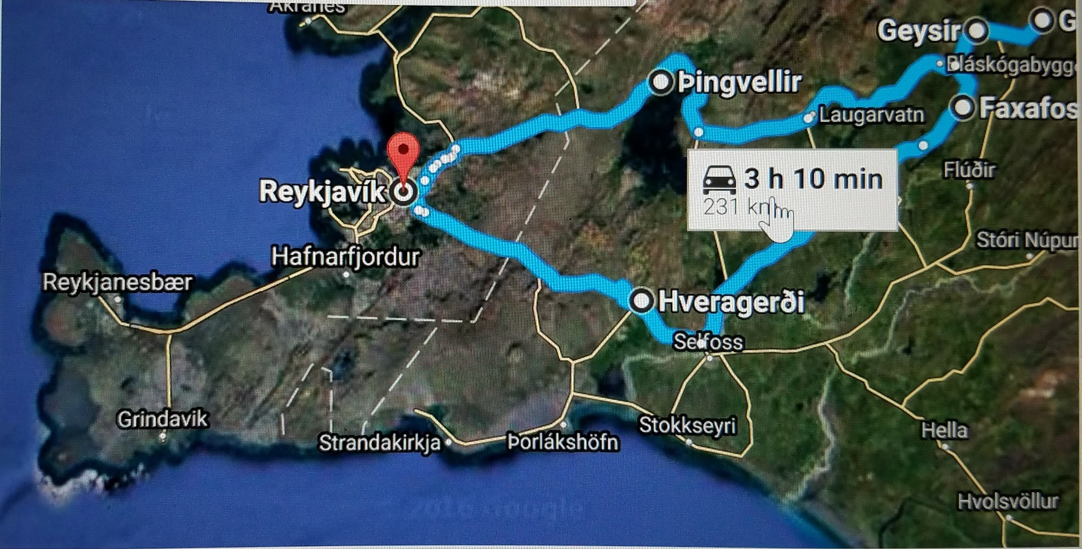 Map of the area covered on the Golden Circle Tour in Iceland. (Credit: Google Maps and GeoIceland.)