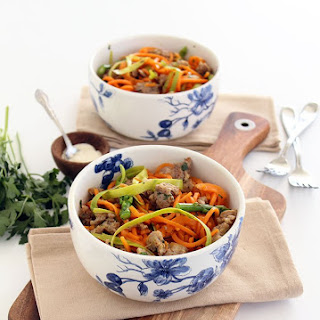 Shaved Asparagus and Sausage Sweet Potato Noodle Pasta Recipe